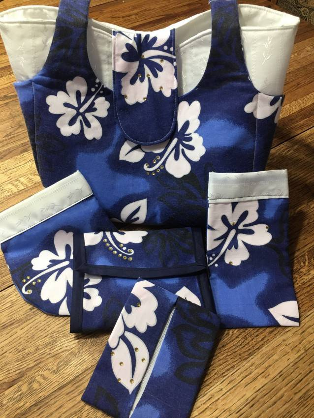 Purse Set #1 – Blue Tropical Print