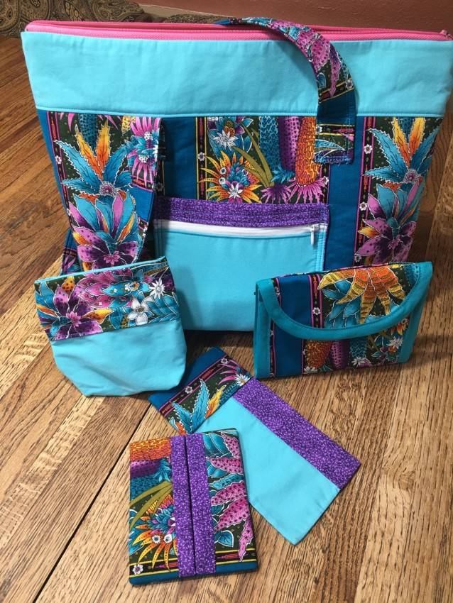 Purse Set #3 – Blue/Purple with Flowers