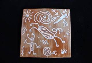 Small Petroglyph Sgraffito Tile