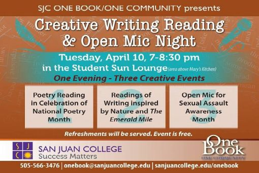 One Book One Community Creative Writing, Reading and Open Mic Night